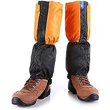 kungken Unisex al aire libre impermeables y cortavientos polainas pierna protección Guardia al agua, golpes para esquí senderismo escalada caza, mujer hombre Infantil, naranja