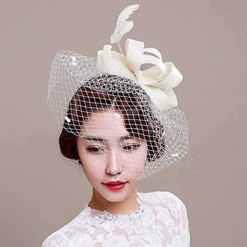 Tocado para mujer con velo de boda y diadema, hecho a mano con plumas y flor,...