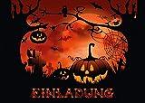 'NACHTS AUF DEM FRIEDHOF': 12-er Set gruselige Halloween-Einladungskarten: Einladungen zur nächsten Halloween-Party von EDITION COLIBRI  - umweltfreundlich, da klimaneutral gedruckt