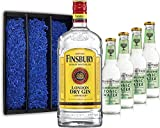 Gin Tonic Geschenkset - Finsbury London Dry Gin 70cl (37,5% Vol) + 4x Fever Tree Elderflower Tonic Water 200ml + Geschenkverpackung