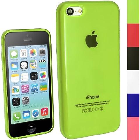 igadgitz Verde Case TPU Gel Funda Cover Carcasa para Nuevo Apple iPhone 5C 4G LTE + Protector de pantalla (No apto para iPhone 5 &