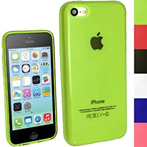 iGadgitz Green Glossy Durable Crystal Gel Skin (TPU) Case Cover for New Apple iPhone 5C Mobile Phone 4G LTE + Screen Protector (NOT suitable for iPhone 5 & 5S)