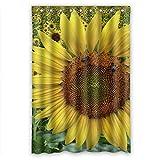 Sweet Sunflowers Field Bienen Hotselling Home Fashion Hohe Qualität Stoff Badezimmer Dusche Vorhang, Polyester-Mischgewebe, 48