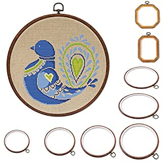 Embroidery Hoop - Durable Art Photo Frame Cross Stitch Hoop Ring Embroidery Circle Sewing Kit Frame Craft (Round, Oval, Rectangle, Octagon)(14cm,Round)