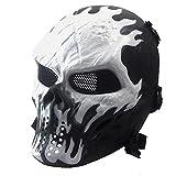 Airsoft Paintball masque de masque de squelette CS de visage plein, militaire tactique pour la partie(Blanc)