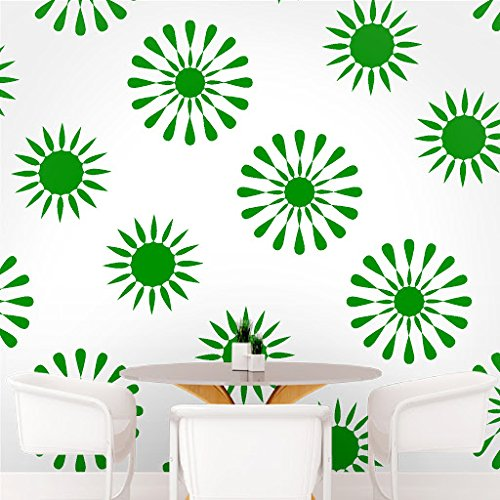 DeStudio Floral Tile Wall Decal, Size X Large & Color : GREEN