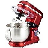 VonShef 800-1260W Küchenmaschine Rührmaschine Knetmaschine - Geräuscharm und 3,5L Rührschüssel mit Spritzschutz – Inklusive Quirl, Knethaken & Schneebesen (Rot)