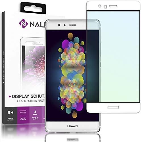 NALIA Cristal Templado para Huawei P9, Vidrio Blindado Película Protectora Display Cobertura, 9H Dureza Film Protector de Pantalla Tempered-Glass para Movil Telefono Celular Huawei-P9, Color:Blanc