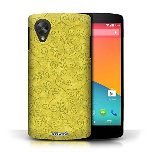 Kobalt® Imprimé Etui / Coque pour LG Google Nexus 5/D821 / Rose conception / Série Motif Feuille Remous Jaune