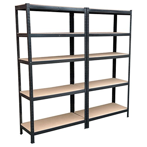 Lot de 2 étagères 5 niveaux en métal solide sans boulons pour rangement d'atelier