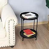 WEII Einfacher nordischer Art-Doppeldecker-Kleiner Kaffeetisch-Ausgangswohnzimmer-Sofa-Seiten-Kleiner runder Tabelle kreativer Eisen-Kleiner runder