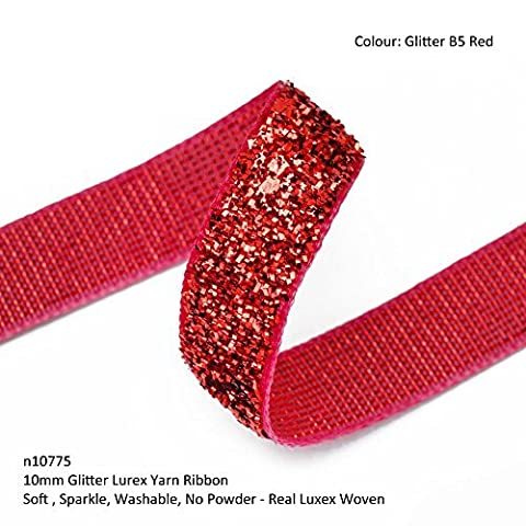 Neotrims Lurex Yarn Woven Glitter Ribbon, 10mm, 12 Sparkle Colours Christmas Trimming. Washable Two Tone Metallic Vibrant Classy Bling Effect, Soft & Slightly Spongy, but very strong, Stylish Slick Christmas & Crafts Trimming. 12 Sensational Tonal Colours for Decorating in Jewellery making, Trim Apparel or Footwear or Home Décor, Great Wedding or Costume Trimming. - Glitter B5 Red - 5 Meters