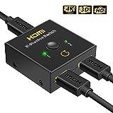 HDMI Switch,Gritin Conmutador HDMI Switcher Bi-Directional Entrada 2 a 1 Salida o Switch 1 a 2 Salidas Soporta 3D y 4K 1080p para HDTV, DVR, DVD Players y Android Box