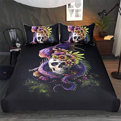 Weimilon set di biancheria da letto casual chic 3d set di camera da letto di personalità della moda del teschio gotico biancheria da letto 3 pezzi 1 copripiumino 2 federe gemelli