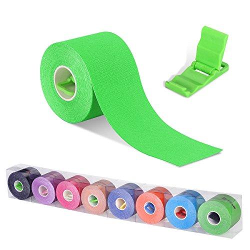 Kinesiologie Tape Tapeverband Sport Physio Body Tape Medizinische Tapes für Nacken Schulter Rücken Arm Ellenbogen Handgelenk Schenkel knie Sprunggelenk Knöchel Fuß,TÜV zertifizierte Qualität! (Packung mit 1 oder 2),5cm Breite x 5m Rollenlänge,8 Farben Verfügbar,Zusätzlich einer Mini Handy Tischhalterung