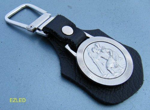 Sportslight Porte-clés en cuir St Christophe