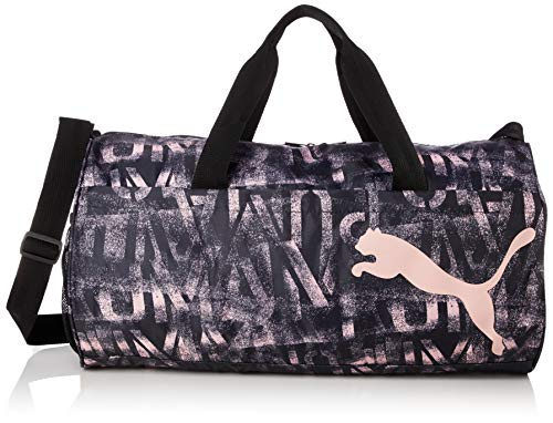 PUMA AT ESS Barrel Bag Bolsa Deporte, Mujeres, Black-Bridal Rose-AOP, OSFA