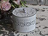 Chic Antique Box mit Deckel oval Shabby antik weiß Vintage Dose