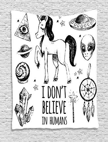 ABAKUHAUS Unicornio Tapiz de Pared, Set Místico con Pirámides Aliens Atrapasueños Ocultismo Estampa Desgastada Arte, para el Dormitorio Apto Lavadora y Secadora Estampado Digital, 150 x 200 cm, Negro
