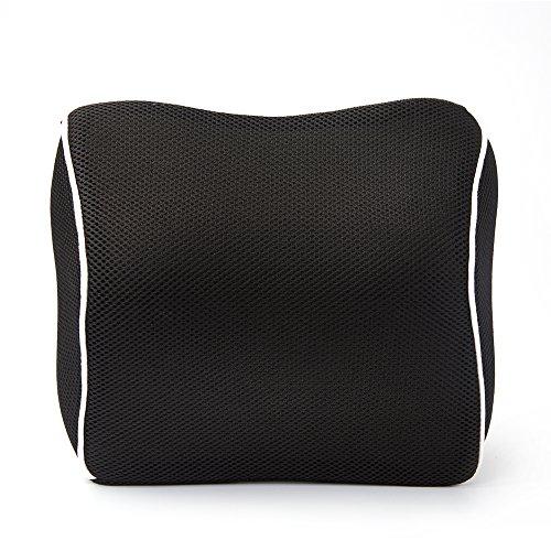 Preisvergleich Produktbild EPMIC Nackenkissen Auto Kopfstütze Halsstutze Kissen Gedachtnis Schaum Echtes Leder Ergonomisches Nackenstützen - Schwarz