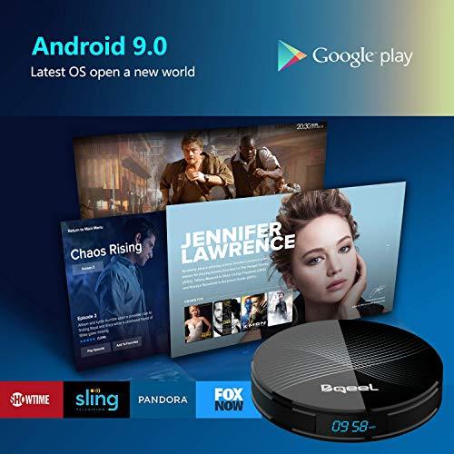 Última versión- Bqeel Android 9.0 TV Box [4G+128G] con el Chip RK3328 Quad- Core 64bit Cortex- A53 Android TV Box,  Wi- Fi- Dual 2.4GHz/5GHz,  Bluetooth 4.0 ,  4K*2K UHD Smart TV Box