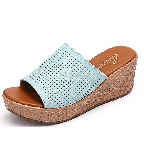 Confortable Pente avec des pantoufles fraîches Chaussures en cuir féminin Chaussons en cuir Chaussons creux Chaussons épais et sauvages (2 couleurs en option) (taille facultative) Augmenté ( Couleur : B