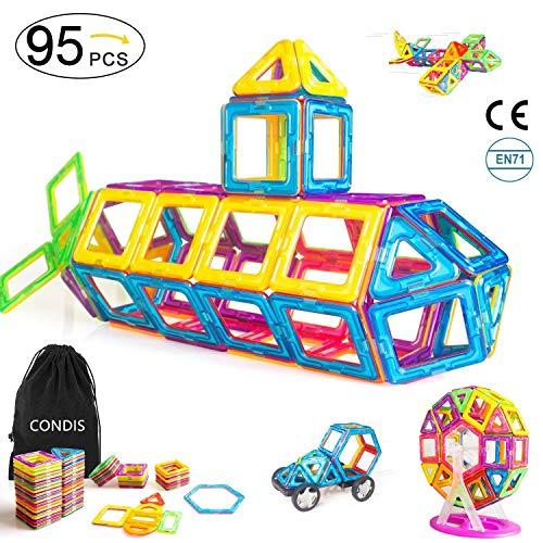 Condis 95 Piezas Bloques de Construcción Magnéticos para niños, Juegos de Viaje Construcciones Magneticas imanes Regalos cumpleaños Juguetes Educativos para Niños Niñas de 3 4 5 6 7 8 Años