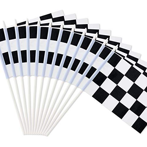 Neuheit Place 20,3 x 14 cm Schwarz und Weiß Checkered Racing Stick Flagge - Kunststoff Stick - Dekorationen für Racing, Race Auto Party, Sport Events (12 Stück) (Auto-geburtstags-party)