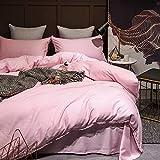 XMDNYE LAN Jing 60 Tage Seide Hanf Vier Stück Reine Farbe Sommer Nackt Schlafen Seide Bettwäsche Doppel, Sakura Pink, 1,8 M (6 Fuß) Bett