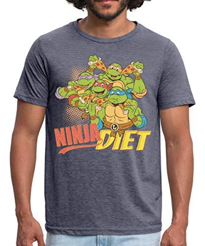 tles Ninja Diet Pizza Männer Polycotton T-Shirt, S, Navy meliert ()
