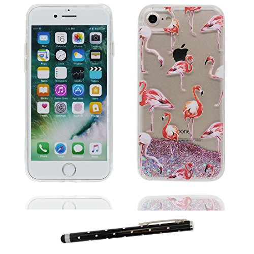 "iPhone 7 Coque, Skin Hard Clear étui iPhone 7, Design Glitter Bling Sparkles Shinny Flowing Apple iPhone 7 Case Cover 4.7"", Durable résistant aux chocs & stylet Heart Bling Grand Flamant 1"