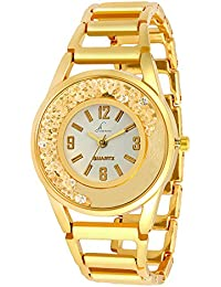 Jack Klein Golden Chain White Dial Metal Wrist Watch for Women