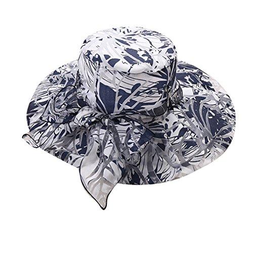 ACVIP Femme Chapeau de Soleil Casquette Plage/Voyage,Capeline à Large Bord Imprimé Fleur avec Noeud Papillon Bleu