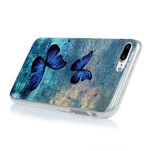 """iPhone 7 Plus Hülle Case YOKIRIN Premium TPU Silikon Case Cover Handytasche Handyhülle Etui Softcover Tasche Schutzhülle Schale für iPhone 7 Plus (5.5"""")Leopard Blauer Schmetterling"""
