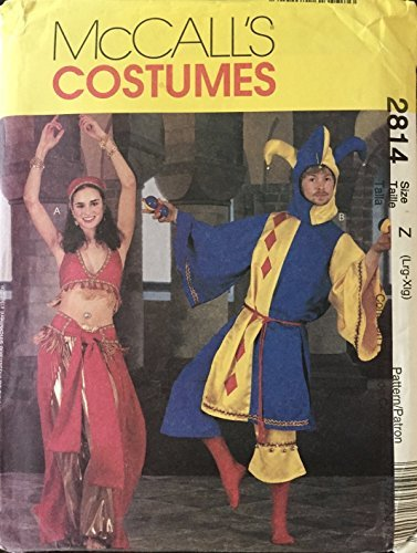 misses-mens-and-teen-boys-jester-and-bellydancer-costumes-mccalls-sewing-pattern-2814-size-z-38-44-b
