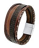 s.Oliver Herren-Armband 21 cm mehrreihig Edelstahl Leder braun Magnetverschluss