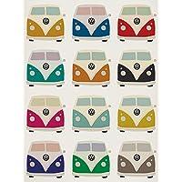 Volkswagen campistas Pop Art Impresión de Lienzo, multicolor, 60x 80cm