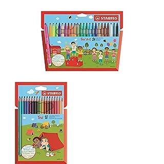 STABILO Triangular grip bundle Trio A-Z felt tips, Trio Colouring Pencils and Trio Graphite Pencils