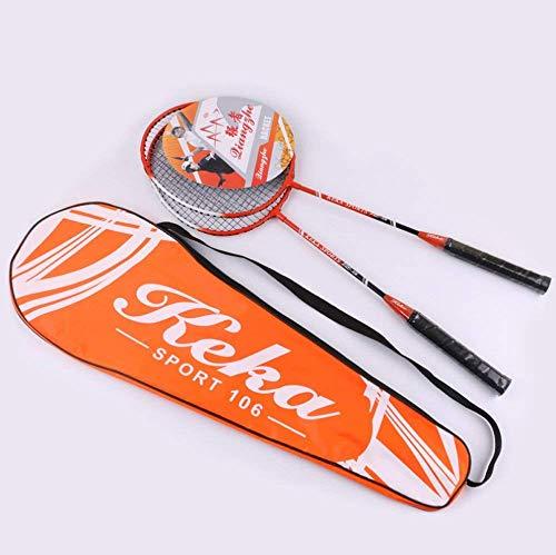 FXDCQC 2 Player Badminton Schläger Set doppelt Schläger Carbon Schaft Schläger, 1 Tragetasche enthalten