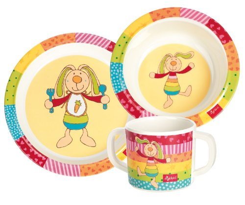 sigikid, Mädchen und Jungen, Melamin-Set, Teller / Schüssel / Tasse, Hase Rainbow Rabbit, Bunt, 24403