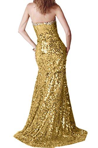 Gorgeous Bride Schein Traegerlos Lang Meerjungfrau Paillette Schleppe Abendkleider Cocktailkleid Ballkleider Golden