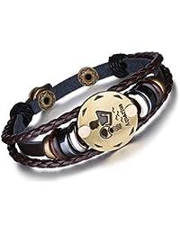 Unendlich U - Moderna pulsera de estilo punki con diseño de signo del Zodiaco y varias tiras de piel trenzada y aleación, para hombre y mujer (1unidad)