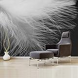 HONGYAUNZHANG Schwarz Und Weiß Linie Feder Muster Custom Fototapete 3D Stereoskopische Wandbild Wohnzimmer Schlafzimmer Sofa Hintergrund Wand Wandbilder,110Cm (H) X 190Cm (W)