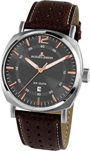 Jacques Lemans Herren Multi Zifferblatt Quarz Uhr mit Leder Armband 1-1943D