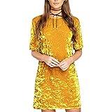 Bawar Damen Samtkleider Mini Cocktailkleid Kurzarm Abendkleid A-Linie T-Shirt Partykleid (L, Gold)
