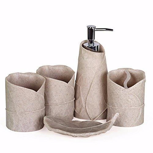 WAWZJ Bad Bad Zahnbürste Anzug Hochwertige Harz Sandstein Lässt Fünf Stück Suite - Badezimmer Produkte (Sand Stück Anzug 3)