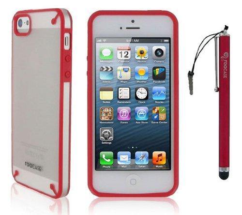 rooCASE Étui origami Fusible Coque à clipser et stylet capacitif pour Apple iPhone 5/5S/5C Red / Frost