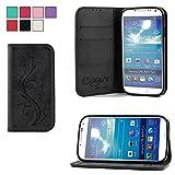 COOVY® Cover für Samsung Galaxy S4 GT-i9500 GT-i9505 GT-i9506 Case Wallet Schutz Etui mit Kartenfach, Standfunktion + Schutzfolie - Design Blume | Farbe schwarz
