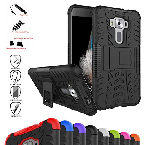 Mama Mouth Zenfone 3 5.2 ZE520KL Custodia, Duro Shock Proof Copertura Rugged Heavy Duty Antiurto in Piedi Custodia Caso Case per ASUS Zenfone 3 5.2 ZE520KL Smartphone 2016,Nero