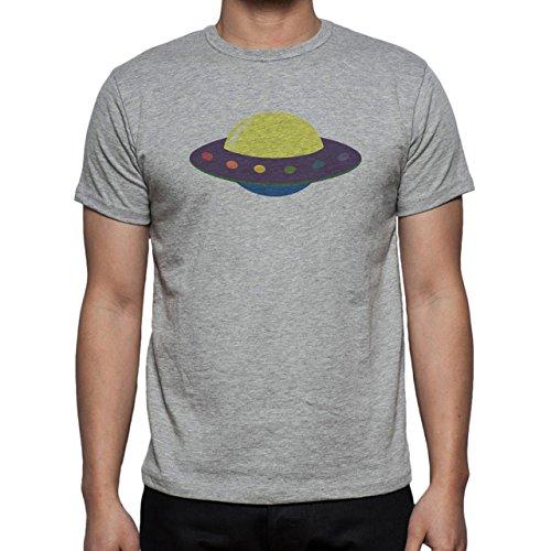 Alien Space Extraterrestrial UFO Spaceship Blue Yellow Herren T-Shirt Grau